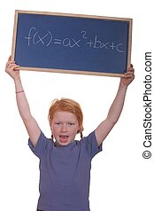 Math student - Smart young math student showing a quadratic...