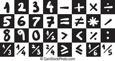 Math Symbols - Vector Illustration Collection of Basic Math...