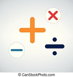 Math Symbols Vector Icon, isolated on modern background.