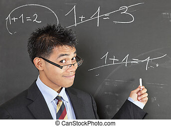 Math teacher pointing error - Smirking Asian math teacher ...