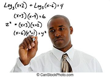 Math Teacher doing a math problem with black marker