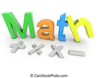 Math text with  math symbols isolated on a white background