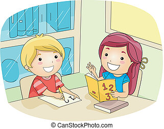 Math Tutorial - Illustration of a Kid Tutoring Her Friend