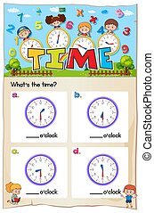 Math worksheet design for telling time illustration