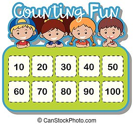 Math worksheet for counting numbers illustration