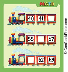 Math worksheet with counting numbers on train