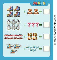 Arbeitsblatt, design, mathe, teilung. Teilung, design, mathe ...