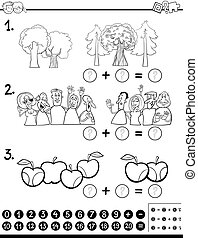 mathe, färbung, seite, berechnend, aktivität