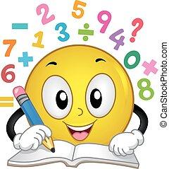 mathe, lösen, zahl, abbildung, smiley