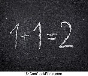 mathe, schule, klassenzimmer, tafel, bildung