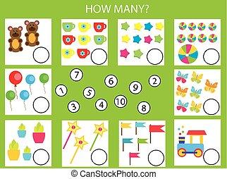 mathe, zählen, erzieherisch, gegenstände, spiel, aufgabe, kinder, wie, kinder, viele, activity.