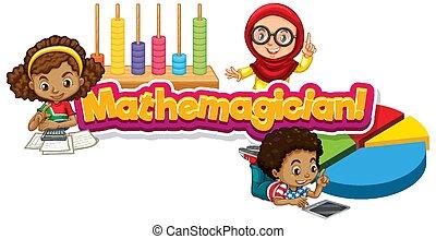 mathemagician, design, kinder, drei, schriftart, wort