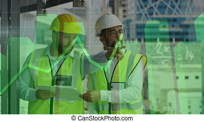 Mathemathical equations and green graph forming against two male architects looking at blueprints