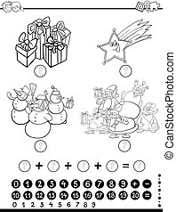 mathematical activity for coloring - Black and White Cartoon...