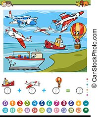 mathematical addition activity - Cartoon Illustration of...