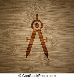 Mathematical Compass icon symbol Flat modern web design with long shadow and space for your text. Vector