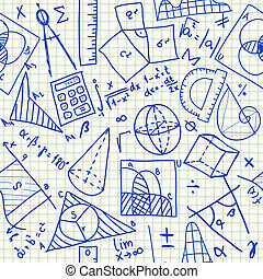Mathematical doodles seamless pattern - Mathematical doodles...