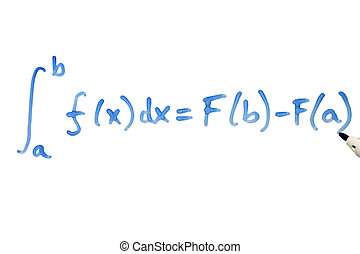Writing a mathematical equation on a whiteboard.