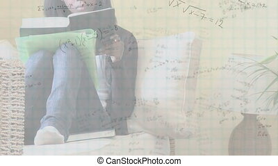 Mathematical equations against girl studying - Animation of ...