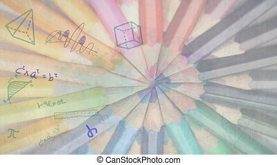 Animation of floating multiple mathematical equations with multiple colored pencils in the background. Education back to school concept digitally generated image.