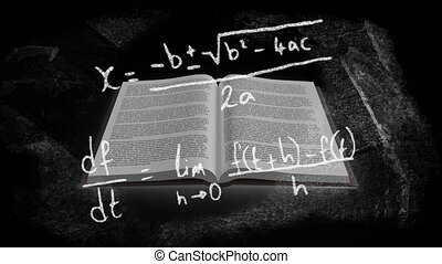 Digital composite video of Mathematical equations and formula moving over open book against black background. Education and school concept