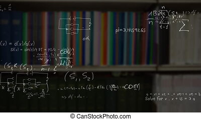 Digital composite video of Mathematical equations and formula moving against shelf of books in the library. Education and school concept