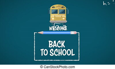 Mathematical equations against Welcome back to school text with bus