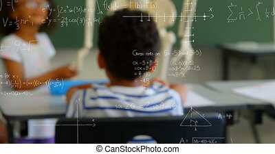 Animation of mathematical equations floating over schoolchildren sitting in classroom, looking at human skeleton model. Education back to school concept digitally generated image.