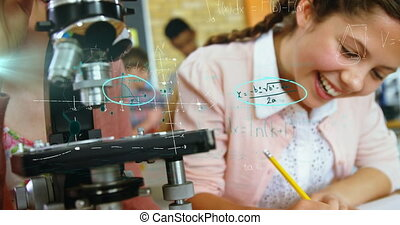 Animation of mathematical equations floating over schoolchildren sitting at desk using chemical equipment, writing in notebook. Education back to school concept digitally generated image.