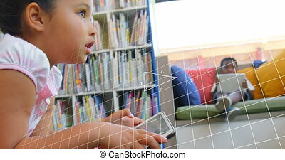 Animation of mathematical equations floating over schoolchildren using tablets, sitting in library. Education back to school concept digitally generated image.