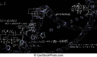 Mathematical equations moving against black background - ...