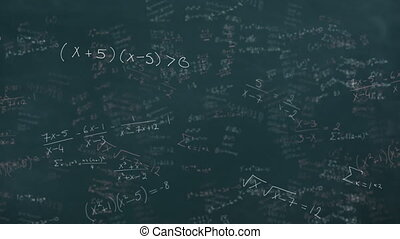 Mathematical equations moving against black board - ...