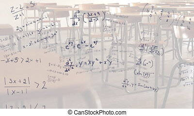 Mathematical equations moving against empty classroom