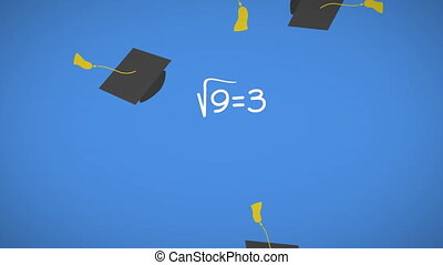 Mathematical equations moving against graduation caps ...