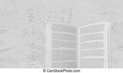Mathematical equations moving against open book - Animation ...