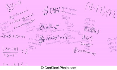 Mathematical equations moving against pink background - ...