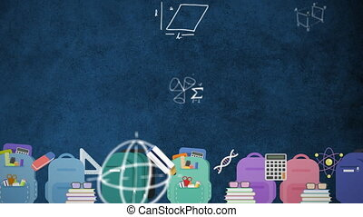 Mathematical equations moving against school icons