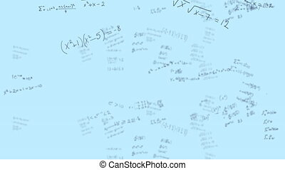 Mathematical equations moving against white background - ...