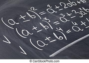 mathematical education concept - algebra equations handwritten with white chalk on blackboard