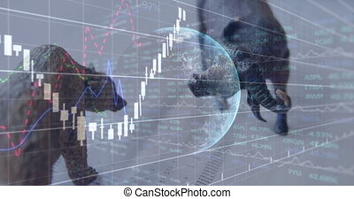 Animation of financial data processing over stock exchange bear and bull figurines and globe in the background. Education business economy interface concept digital composite.