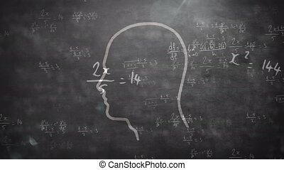 Animation of mathematical equations floaitng over a drawing of a human head with a lightbulb inside in the background. Science, research and global economy concept digitally composite