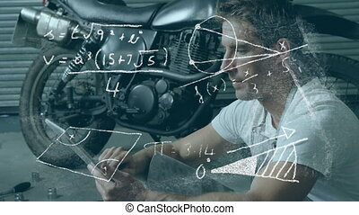 Animation of mathematical equations with man thinking sitting on the floor on tablet over motorbike. Digital composite video.