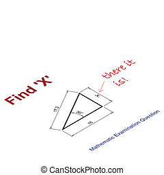 value of X - Mathematical examination question to find the...