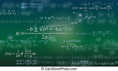 Mathematical formulas. Abstract green background with Math equations floating on blackboard. Pattern for cover, presentation, leaflets. Vector 3D illustration