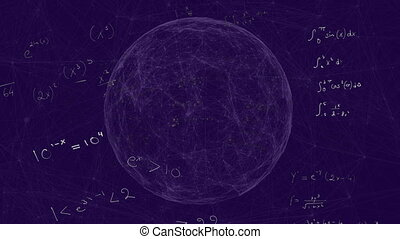 Animation of handwritten mathematical equations moving over spinning globe on purple background. Global science learning education concept digitally generated image.