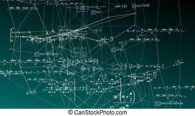 Mathematical formulas move in space, science and mathematical research and development concepts. Video loop