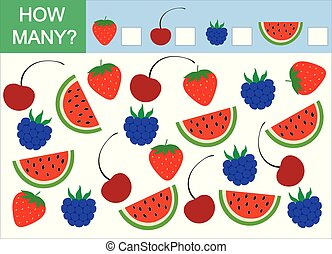 Mathematical game for children. Count how many berries. Vector