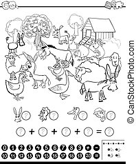 Black and White Cartoon Illustration of Educational Mathematical Activity Game for Children with Farm Animal Characters Coloring Page