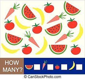 Mathematical game for preschool children. Count how many fruits, berries and vegetables (banana, watermelon, tomato, carrot). Learning numbers, mathematics.