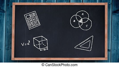 Digital animation of Mathematical icons on black board against blue wooden background. Education and school concept